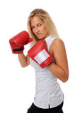 Businesswoman With training Gloves Royalty Free Stock Photography