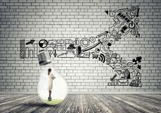 Free Businesswoman Trapped In Bulb Stock Images - 119712104