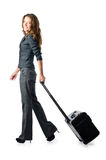Businesswoman with travel case Royalty Free Stock Photo