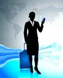 Businesswoman traveling around the world Royalty Free Stock Image