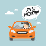 Businesswoman traveling by car and say Hello weekend. Vector illustration Stock Photography