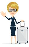 Businesswoman travelling  on white Stock Images