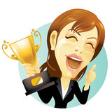 Businesswoman with trophy Royalty Free Stock Image