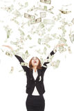 Businesswoman try to catch the money Royalty Free Stock Photography