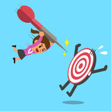 Businesswoman try to hit a target Stock Images