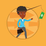 Businesswoman trying to catch money on fishing rod Royalty Free Stock Photography