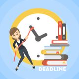 Businesswoman and deadline. Businesswoman trying to delay deadline. Big clock Royalty Free Stock Images