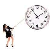 Businesswoman trying to stop time Stock Photography