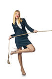 Businesswoman in tug. Of war concept Stock Photos