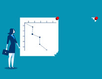 Businesswoman turning graph to change analysis, The direction of Stock Photography