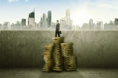 Businesswoman turns her face to the camera standing on top of Stack of books.  Stock Images