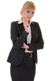Businesswoman with tutorial gesture Royalty Free Stock Photos
