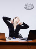 Businesswoman with two laptops Royalty Free Stock Image