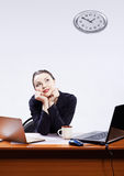 Businesswoman with two laptops Royalty Free Stock Photo