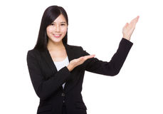 Businesswoman with two open hand palm Royalty Free Stock Photos