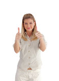 Businesswoman with Two Thumbs up Royalty Free Stock Images