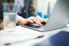 Businesswoman Typing Closeup stock images