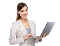 Businesswoman typing on laptop Royalty Free Stock Photography