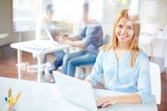 Businesswoman typing Stock Photography