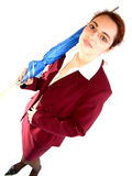 Businesswoman with umbrella. Businesswoman in red suit with blue umbrella stock photos