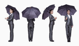 Businesswoman with umbrella, 360 degrees Stock Photography