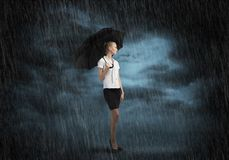 Businesswoman with umbrella Royalty Free Stock Image