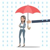Businesswoman under protection. Isolated businesswoman under umbrella protection and rain Royalty Free Stock Photos