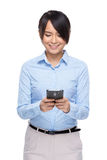 Businesswoman use cellphone Stock Photo