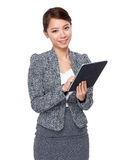 Businesswoman use of digital tablet Stock Images