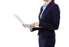 Businesswoman use of laptop computer Royalty Free Stock Image