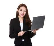 Businesswoman use of laptop stock photo