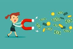 Businesswoman use large magnet to attract money. Business concept royalty free illustration