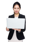 Businesswoman use notebook computer royalty free stock images