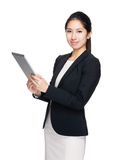 Businesswoman use tablet stock photos