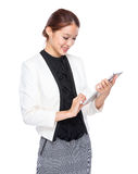 Businesswoman use of tablet Royalty Free Stock Photo