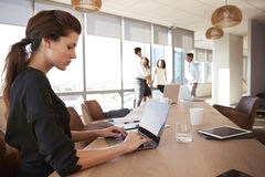 Businesswoman Uses Laptop As Colleagues Meet In Background Stock Images
