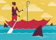 Businesswoman uses Umbrella to sail to safety. Royalty Free Stock Photos