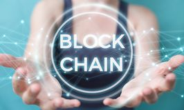 Businesswoman using blockchain cryptocurrency interface 3D rende Royalty Free Stock Photography
