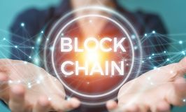 Businesswoman using blockchain cryptocurrency interface 3D rende Stock Photography