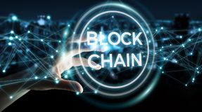 Businesswoman using blockchain cryptocurrency interface 3D rende. Businesswoman on blurred background using blockchain cryptocurrency interface 3D rendering Stock Images