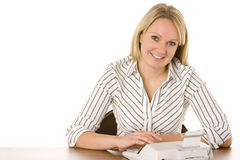 Businesswoman Using Calculator Royalty Free Stock Photos