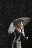 Businesswoman Using Cellphone Under Umbrella Stock Photography