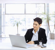 Businesswoman using computer Stock Photos