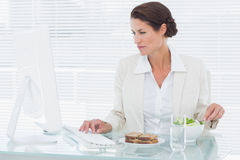 Businesswoman using computer while eating salad at desk Stock Images