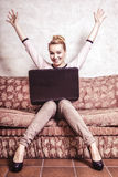 Businesswoman using computer at home. Success. Stock Photos
