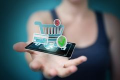 Businesswoman using contactless terminal payment 3D rendering Royalty Free Stock Photos
