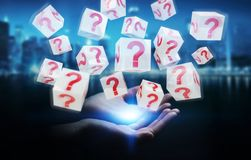 Businesswoman using cubes with 3D rendering question marks. Businesswoman on blurred background using cubes with 3D rendering question marks Stock Images
