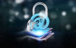 Businesswoman using 3D rendered digital padlock to secure his in Royalty Free Stock Photo