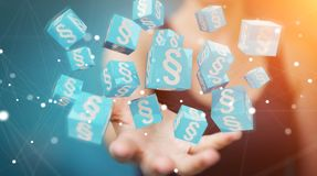 Businesswoman using 3D rendering law cubes. Businesswoman on blurred background using 3D rendering law cubes Stock Photography