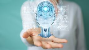 Businesswoman using digital artificial intelligence interface 3D. Businesswoman on blurred background using digital artificial intelligence interface 3D Stock Images